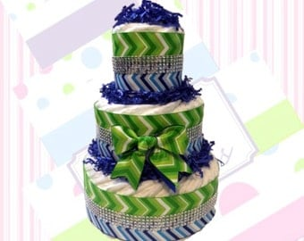 Blue & Green Chevron Diaper Cake, Boy Diaper Cake, Diaper Cake Gift, Baby Shower Centerpiece