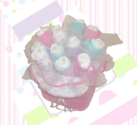 Sale 25 off baby girl diaper bouquet pink teal 26pc for Pink diaper bouquet