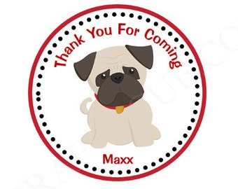 Boy Pug Birthday Party Favor Tags - Puppy Pug, Pug dog decorations