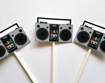 Boombox Cupcake Toppers - 80's Party Decorations - 80's Birthday Cupcake Toppers