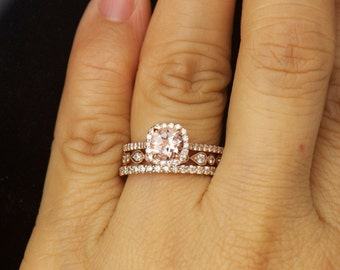 Kylie B, Lucy B & Petite Bella Set - Morganite and Diamond Halo Engagement Ring and Diamond Wedding Bands in Rose Gold, Free Shipping