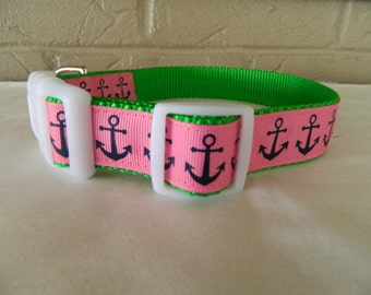 Hot Pink/Navy/ Lime Anchor Dog Collar