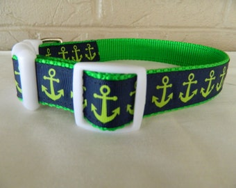 Navy and Lime Anchor Dog Collar