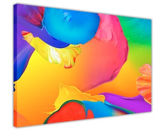 Splash of Paint Colourful Framed Pictures Canvas Prints Wall Art Homes Decoration Modern Art