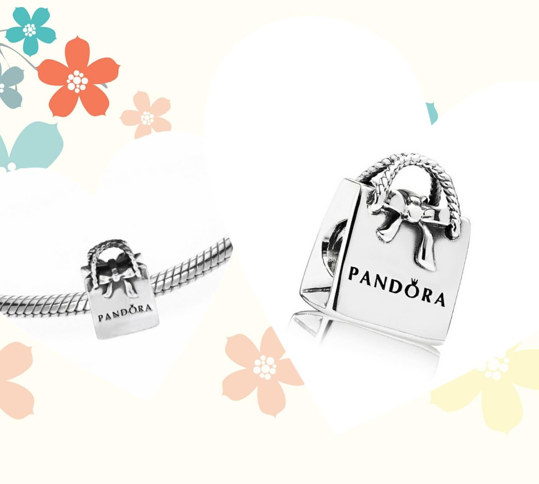 adorable silver shopping bag pandora charm bead by