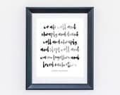 We Ate Well And Cheaply - Ernest Hemingway Quote - Black White Print - Digital Print - Printable Wall Art - Typography - Quote Print (004)