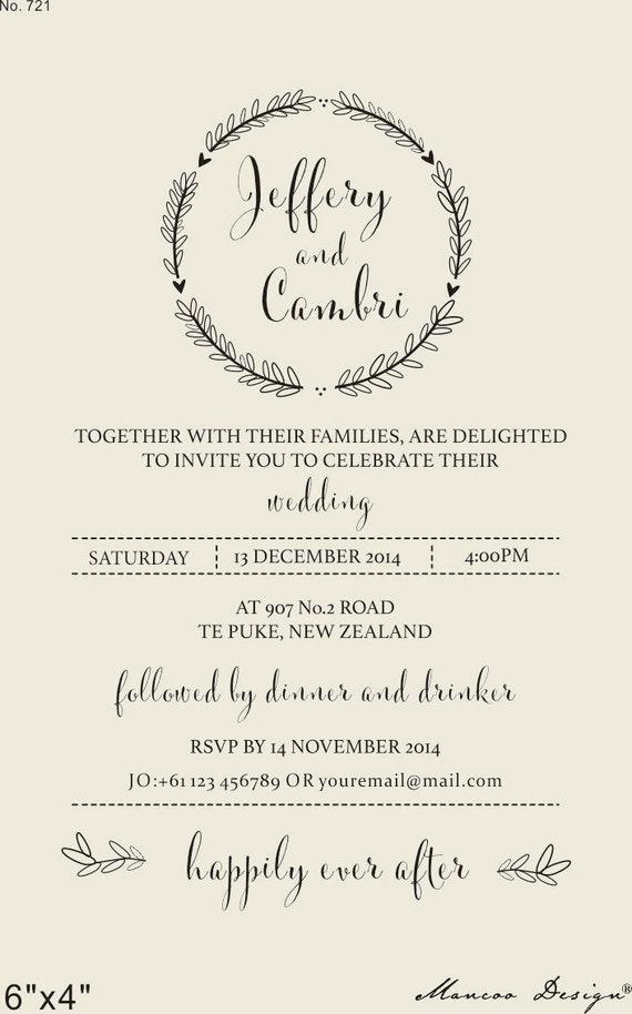 Wedding Invitation Rubber Stamps: Custom Wedding Invitation Rubber Stamp Wedding Invitation