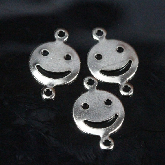 200 pcs 16x10 mm nickel plated brass smile :)  brass face shape brass connector,brass findings 640N-52