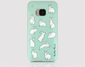 HTC One M9 Case - Rabbit & Mint Polka Dot (00051-M9)