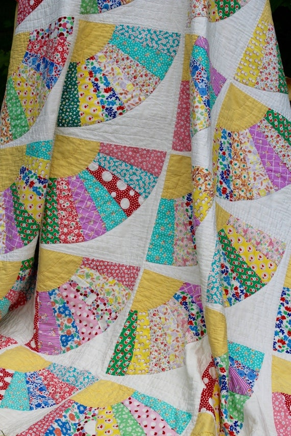 Heirloom Quilt Handmade Grandmothers Fan Quilt Pattern