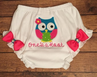 """1st Birthday """"One's a Hoot"""" Diaper Cover"""