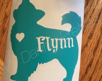 Long Haired Chihuahua Decal- Dog Decal with Name Cut-out