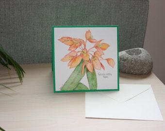 original watercolour card painting orange flower 'fireglow'