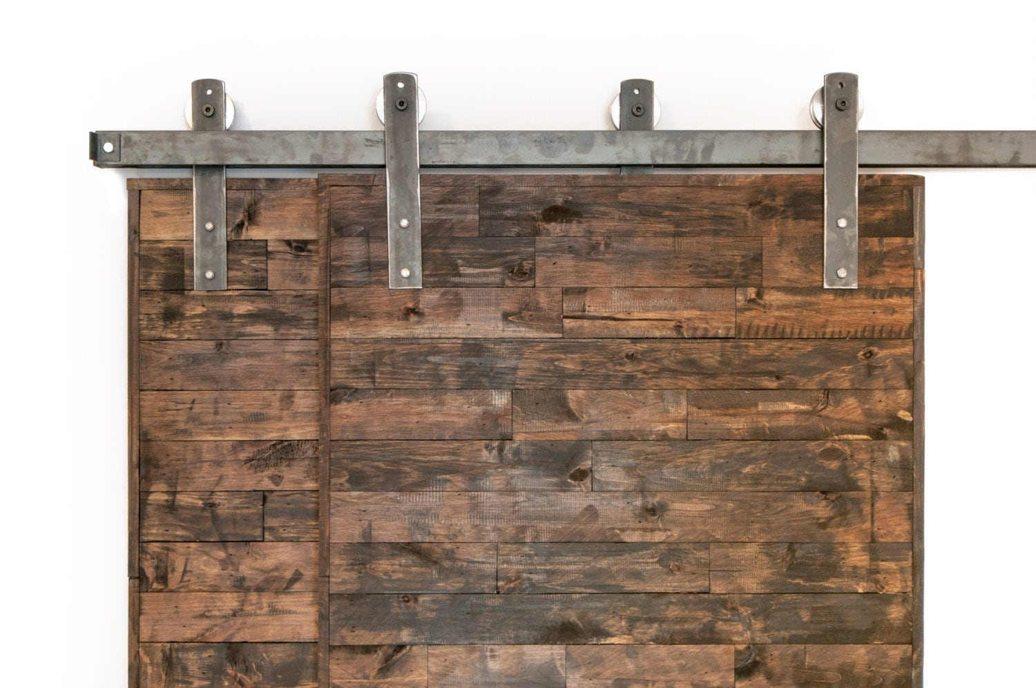 Bypass Barn Door Hardware bypass industrial/classic sliding barn door closet hardware