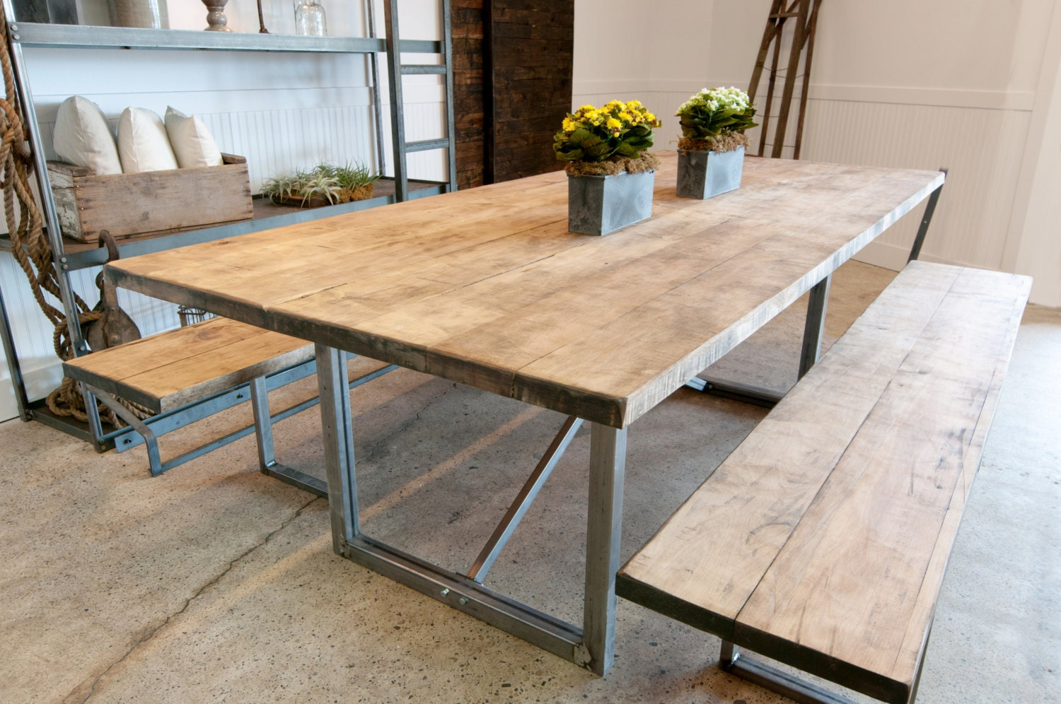 Rustic solid maple wood rustic farm table with metal x base for Solid wood farmhouse table