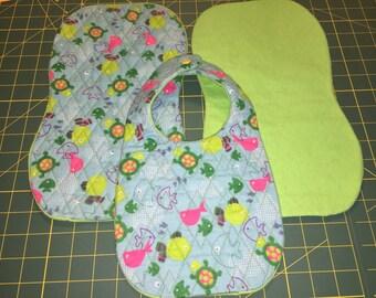 Embroidered Burp Cloth and Bib Set