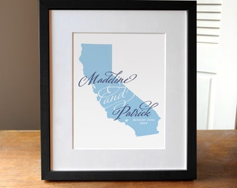 Custom Gift for Bride and Groom, Gift for Couples, State Wedding Print, Custom State Gift Print, Engagement Gift