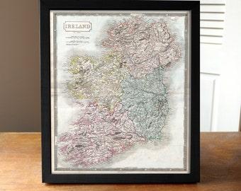 Ireland Map, Map of Ireland, Antique Map of Ireland Print, Vintage Ireland Map, Irish Map