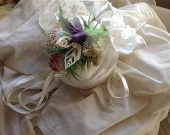 Beach wedding dolly bag.