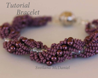 PDF tutorial seed beads bracelet Purple waves_ easy beading_ pattern