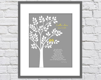 Bob Marley, Three Little Birds/ New Baby Gift/ Mother's Day Gift/ Family Tree/ Wedding Gift /Don't Worry/ Gray & Yellow - 8x10, 11x14,12x16