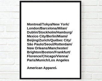 Typographic Print - american apparel cities bag tumblr room decor gift - Wall Decor - tumblr - Quote Typography - Fashion -Art Print - room