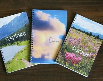 Set of 3 nature journals,  Adventure  Notebooks, Colorado journals, Summer Vacation log, Explore, Dream, Discover, Custom notebook