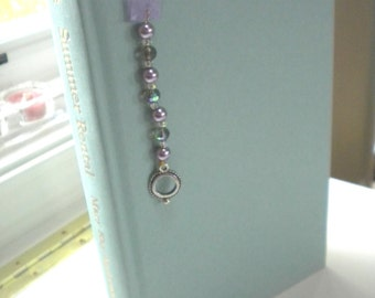 Charming Purple Beaded Ribbon Bookmark, Handmade, Original