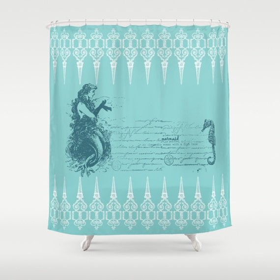 Mermaid Shower Curtain Vintage Mermaid And By Artfullyfeathered
