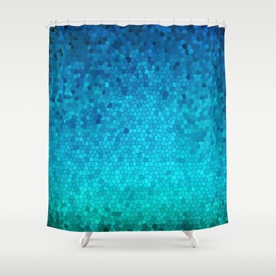 Artistic Shower Curtain Blue Green Mosaic Crackle Teal