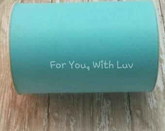 Aqua tulle roll, 100 yards aqua tulle spool of 6 inches wide high quality aqua tulle fabric.