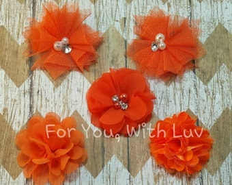 Tulle, satin and bling flower assortment in orange for crafting, headband making, tutus etc.