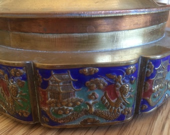 Chinese Brass and Enamel Dish with Lid