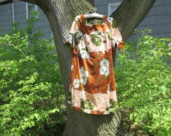 SALE Vintage 1960s green orange yellow floral coat jacket dress Hawaiian Casuals Stan Hicks made in Honolulu