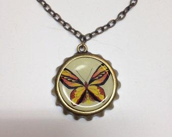 Butterfly bottle cap necklace