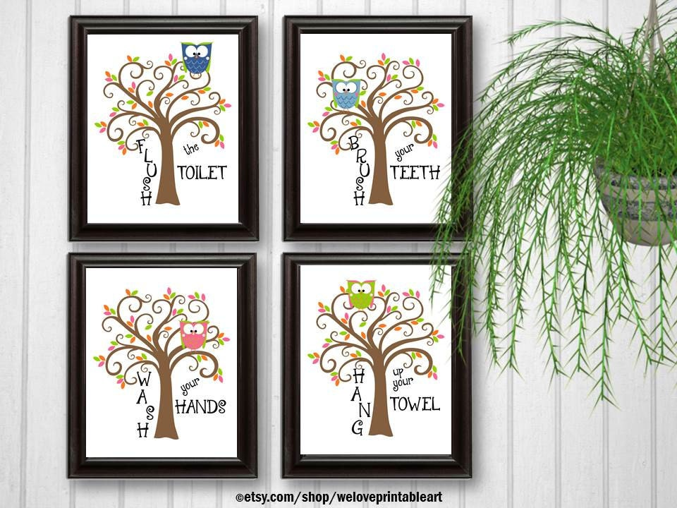 Kids Bathroom Decor Owls Art Bathroom Artwork Printable Art