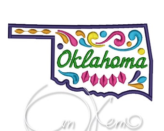 MACHINE EMBROIDERY DESIGN - Oklahoma state, Mexican design, Calavera, Dia de los muertos, Day of the dead
