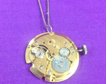 Steampunk watch movement pendant and chain