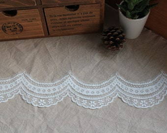 Lace Trim White Embroidery Lace Fabric Wave Lace Flower Wedding Fabric 3 yards