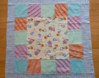 Vintage Chenille Patchwork Blanket, Baby Patchwork Quilt, Vintage Baby Chenille Bedding, Chenille Blanket