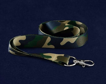 Green Camouflage Colored Lanyards (25 Lanyards) (LAN-CF13)