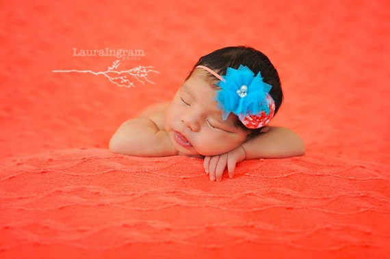 Under the Sea, Turquoise and Coral Baby Headband, Turquoise tulle ...