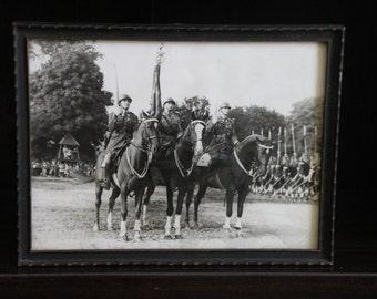 Framed Original Belgian Army 1st Lancers Regiment Photograph 1937, Spa, Belgium