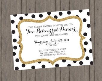 Rehearsal Dinner Invitation - Gold and Black Invitation - Custom Invitation - Rehearsal Dinner - Polka Dot Invitation - Postcard Invitation
