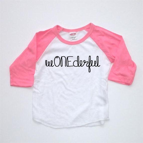 ONE Raglan First Birthday Shirt WONEderful By