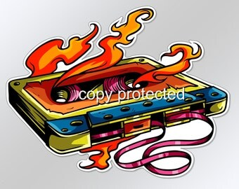 Funny decal / car bumper sticker old skool cassette tape on fire retro tape music 124 x 96mm