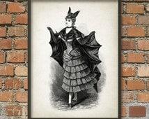Woman in a bat costume - Weird - Whimsical - Strange - Giclee Art Print