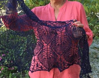 navy blue shawl, cotton, linen, handknit