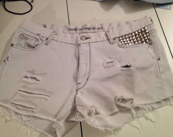 Levis Size 15 Custom cut-off shorts/festival/ripped/shredded/denim/distressed/shorts/cut-offs