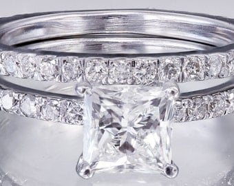 EGL US H-VS2 18k white gold princess cut diamond engagement ring and band 2.00ct